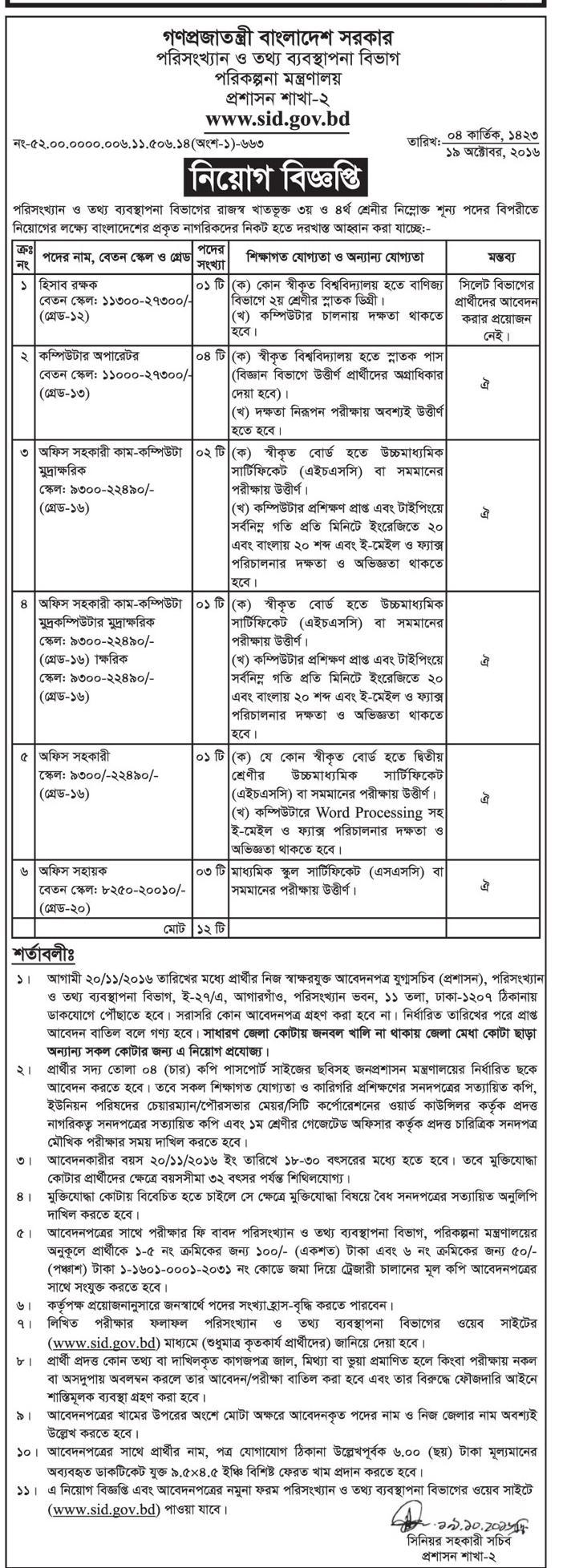 Statistics and Informatics Division (SID) Government Job Circular 2016