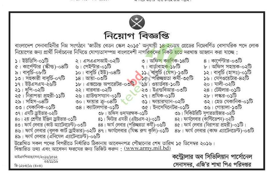 Bangladesh Army Civil Job Circular November 2016