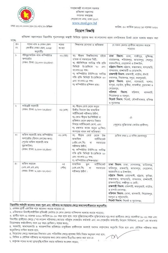 Ministry of Defence GovJobs in BD November 2016