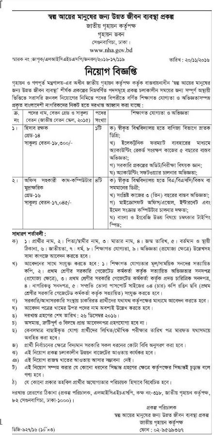 NHA Govt job circular in November 2016.
