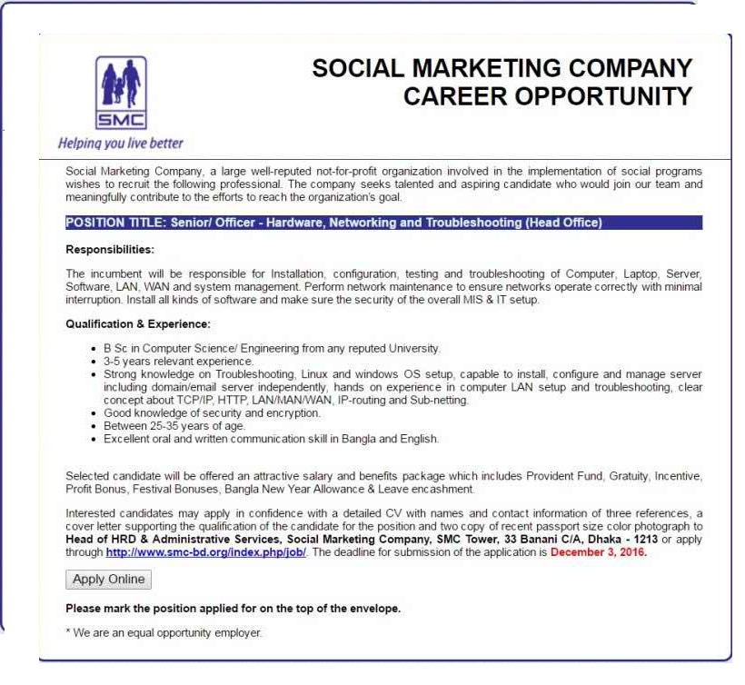 Social Marketing Company Job