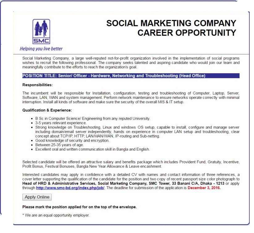 Social Marketing Company Job