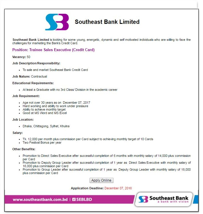 Southeast Bank Career in BD November 2016