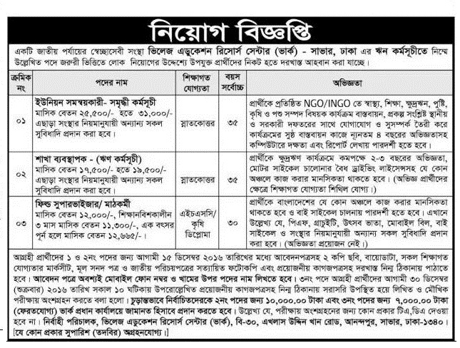 Village Education Resource Center job circular 2016