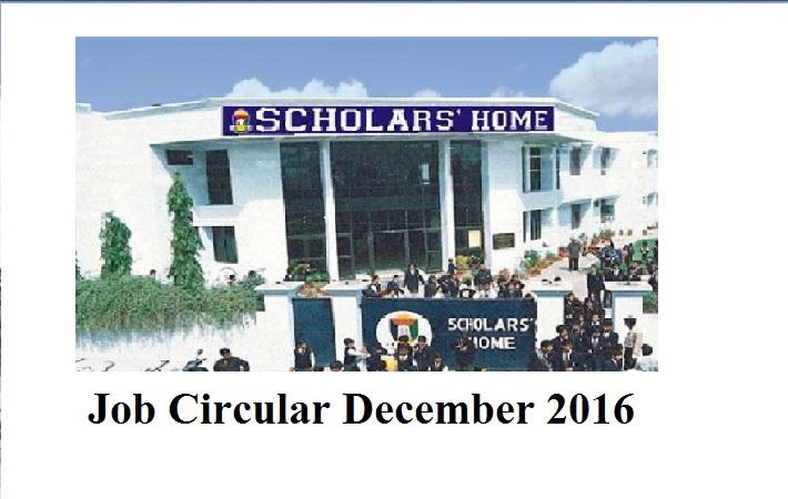 Scholars Home School and College Job Circular December 2016