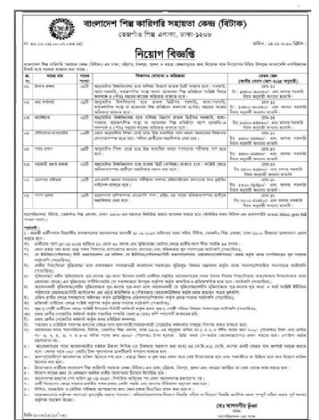 Bangladesh Industrial Technical Assistance Center Jobs Circular December 2016