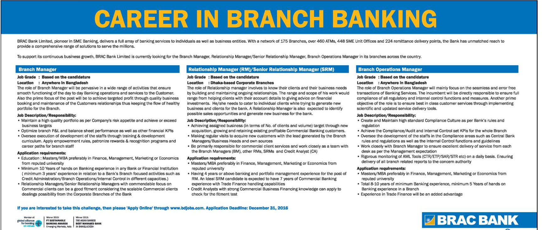 BRAC Bank Limited, Bangladesh New Jobs Circular December 2016