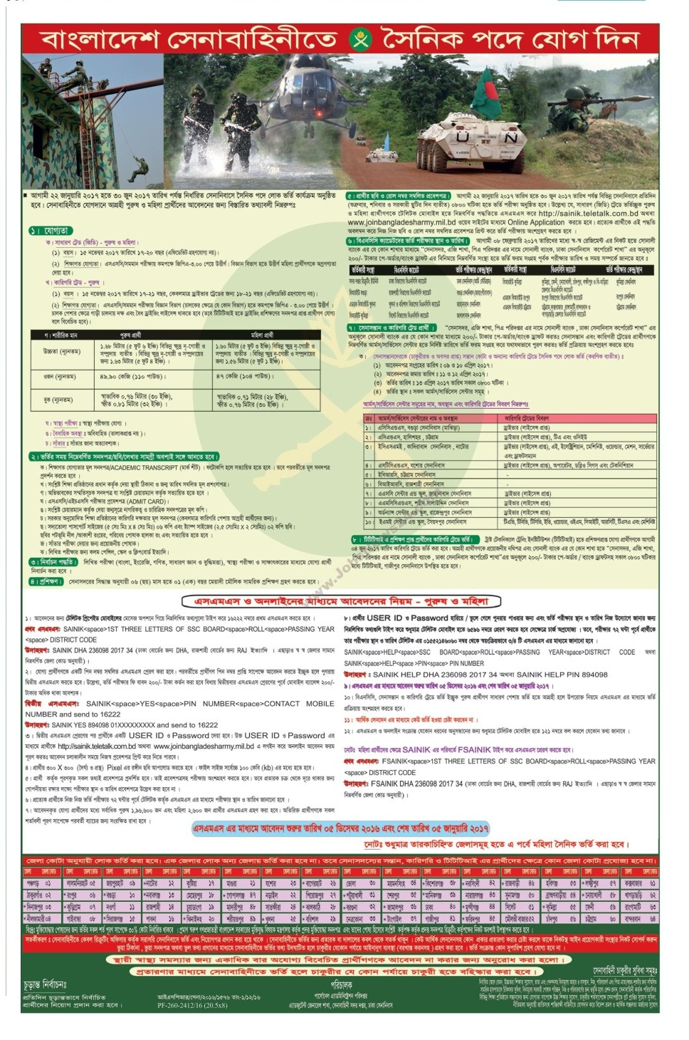 Bangladesh Army Job Circular December 2016
