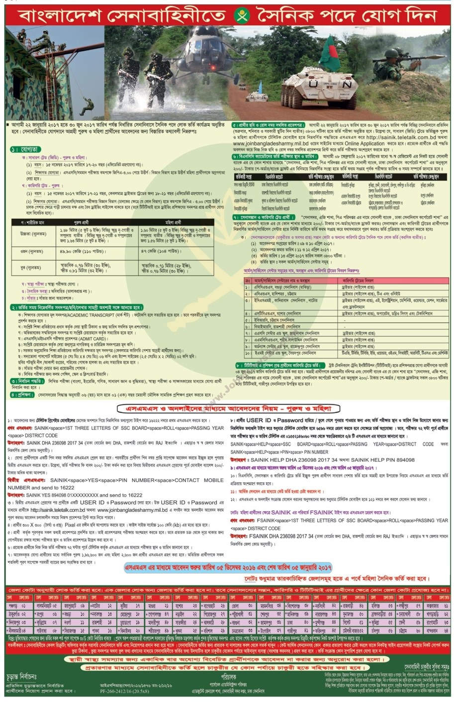 Bangladesh Army New Jobs Circular December 2016