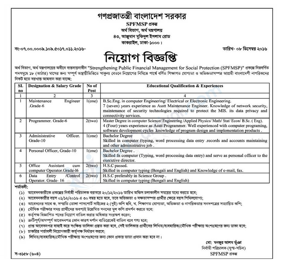 Bangladesh Ministry of Education Job Circular 2016