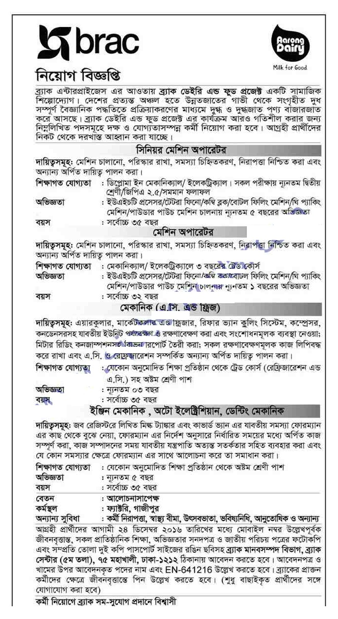 Career Opportunity at BRAC Bank Limited December 2016