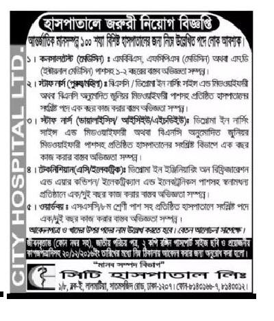 City Hospital Ltd Job Circular in December 2016.