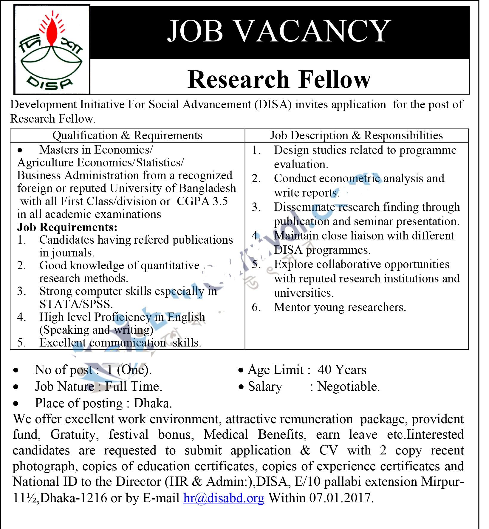 Development Initiative For Social Advancement(DISA) Job Circular December 2016