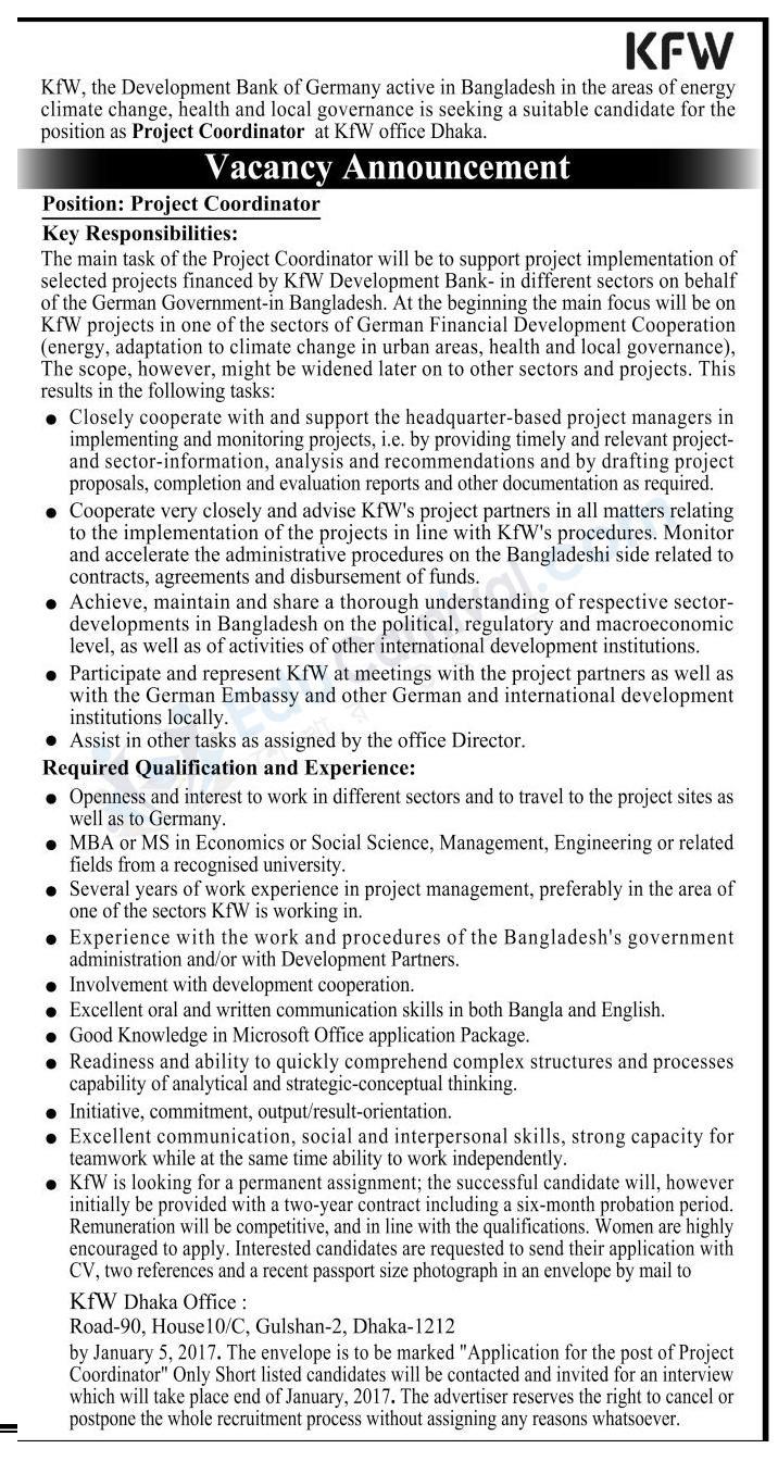KfW Development Bank Job Circular 2017