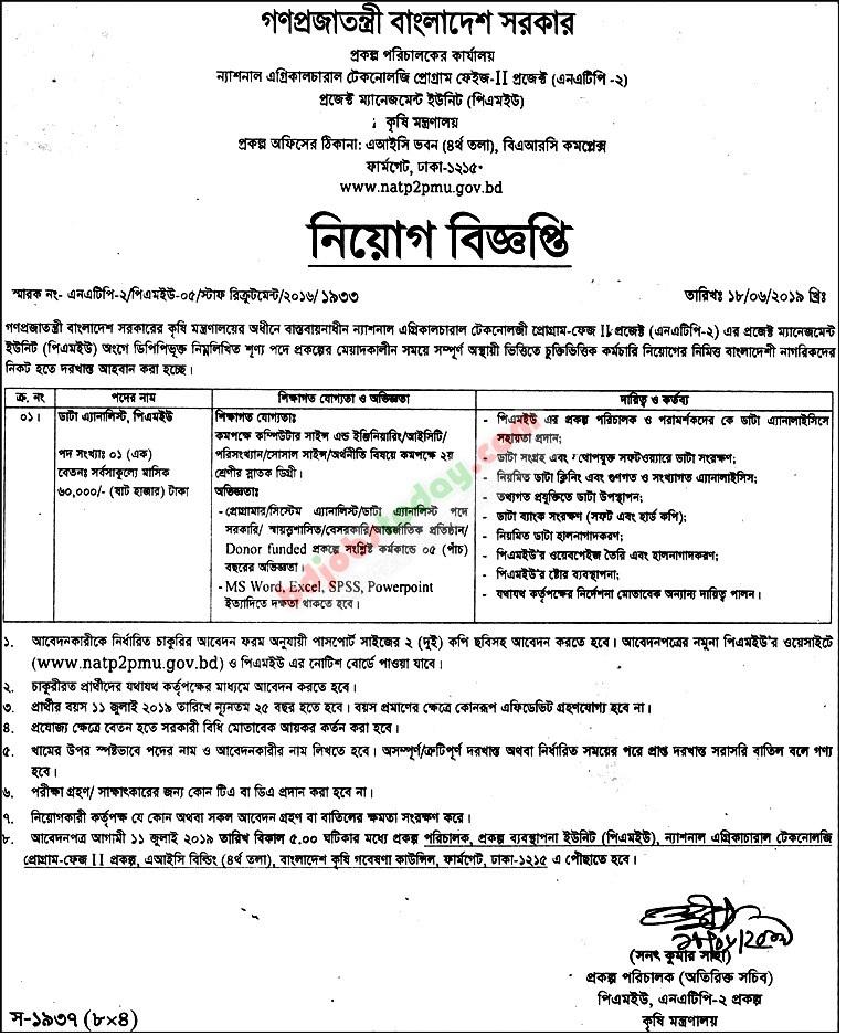 National Agricultural Technology Job Circular 2019