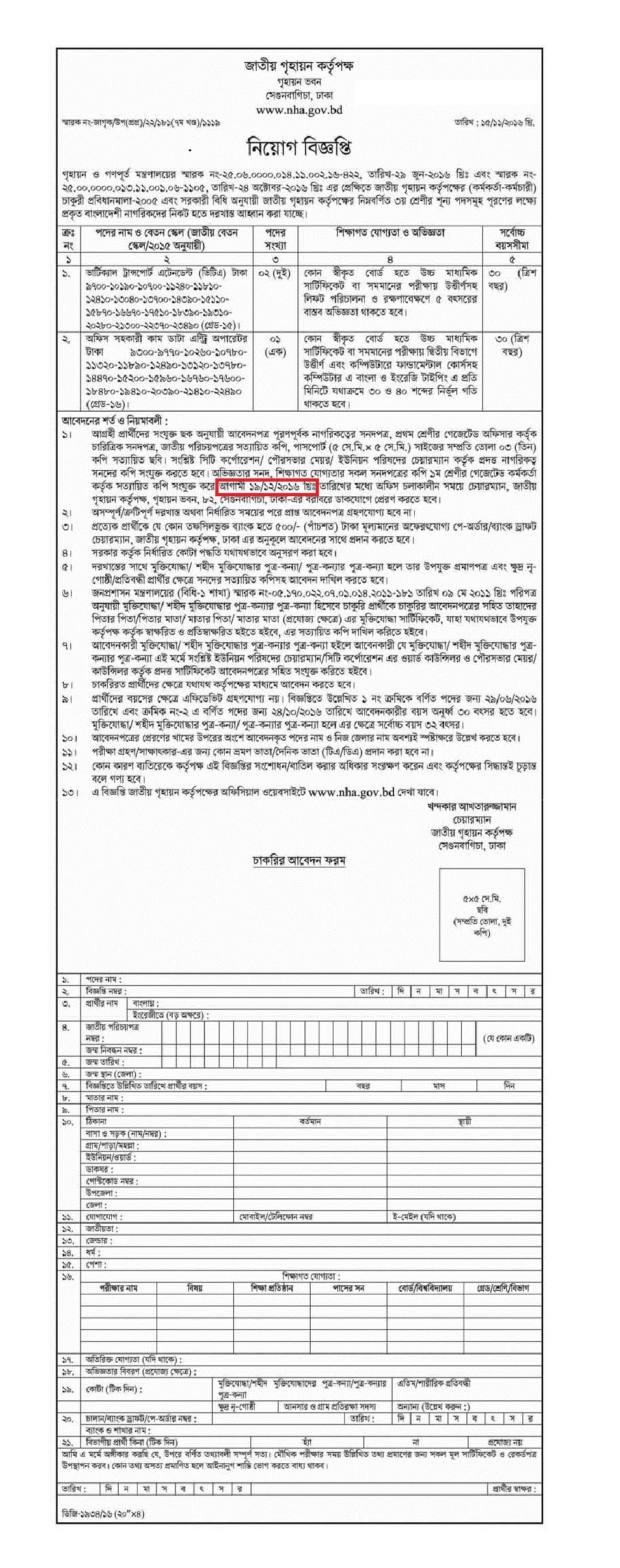 Bangladesh National Housing Authority Job Circular