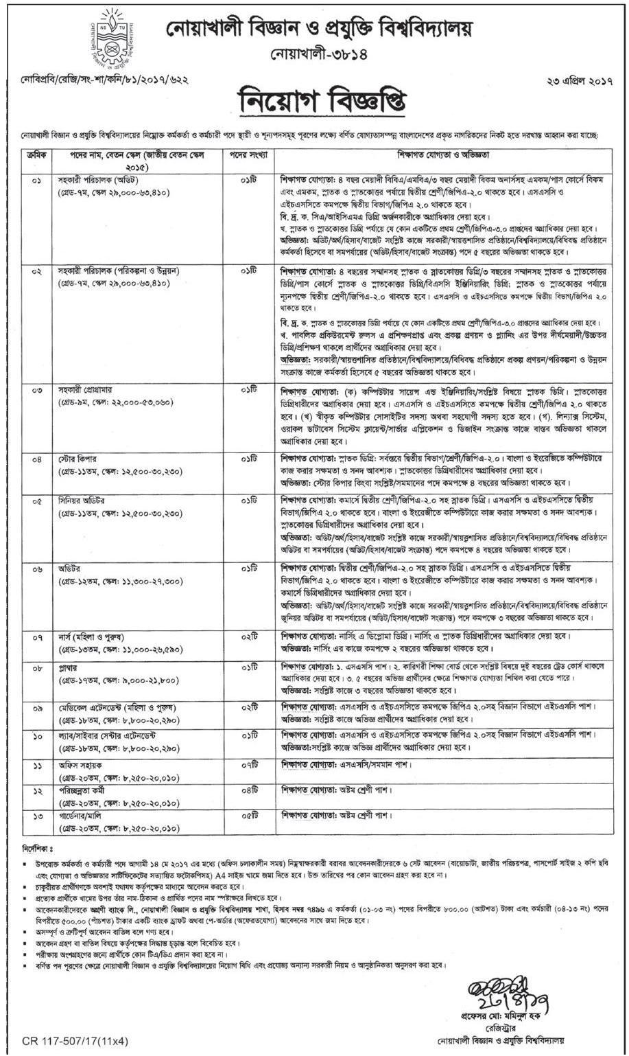 oakhali Science and Technology University (NSTU) Job Circular 2017