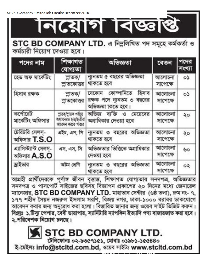 STC BD Company Limited  Job Circular December 2016