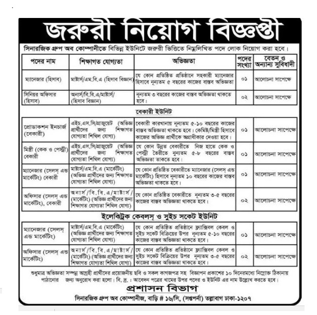 Sinerjik group of company job circular in December 2016.