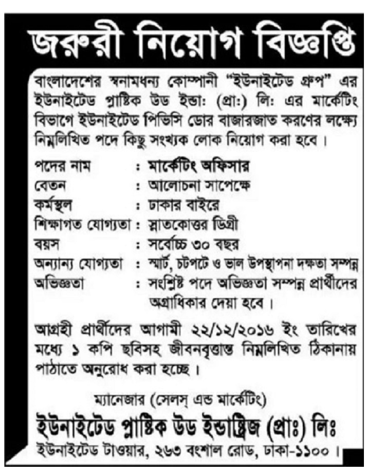 United Group Job Circular in December 2016