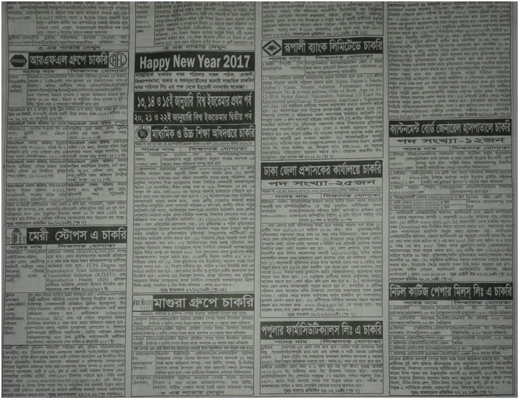Weekly Newspaper All Jobs Circualr 20 December 2016