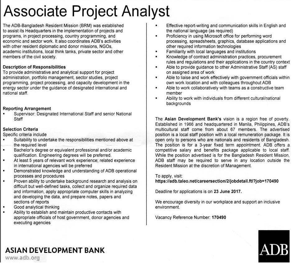 Asian Development Bank Job Circular 2017