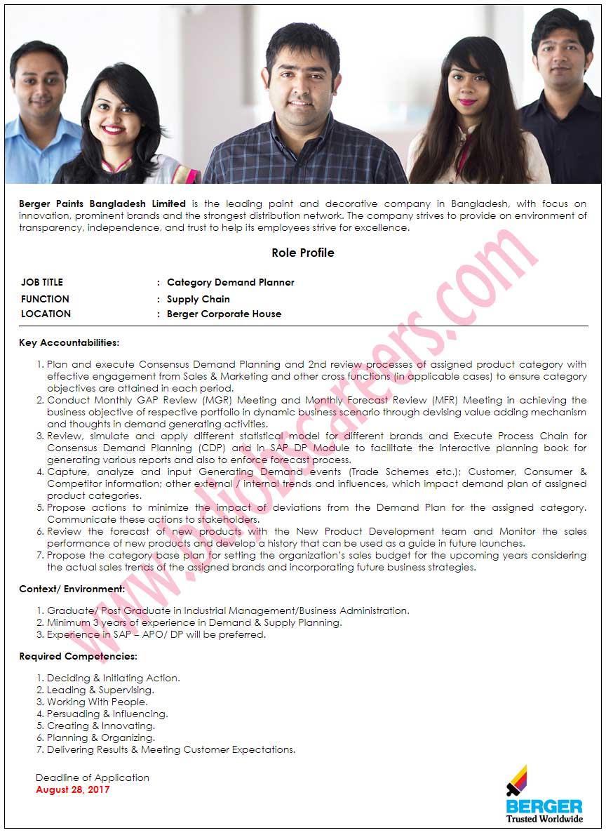 Berger Paints Bangladesh Ltd Job Circular 2017