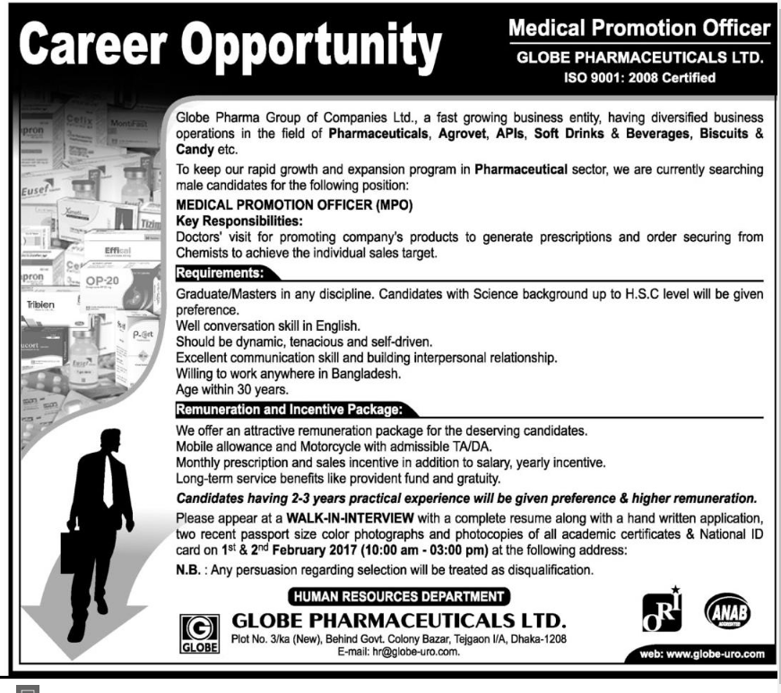 Globe Pharmaceuticals Limited Job Circular 2017