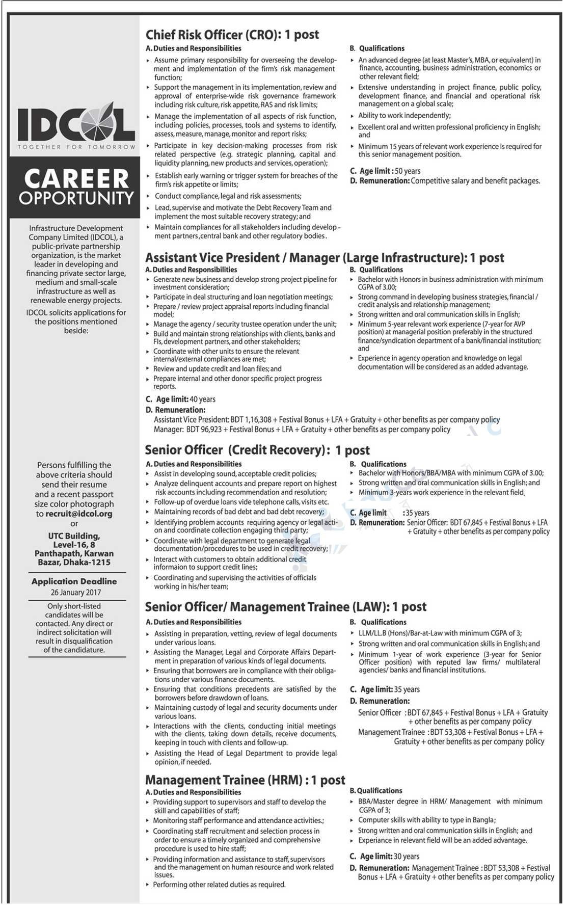 Infrastructure Development Company Limited (IDCOL) Job Circular 2017