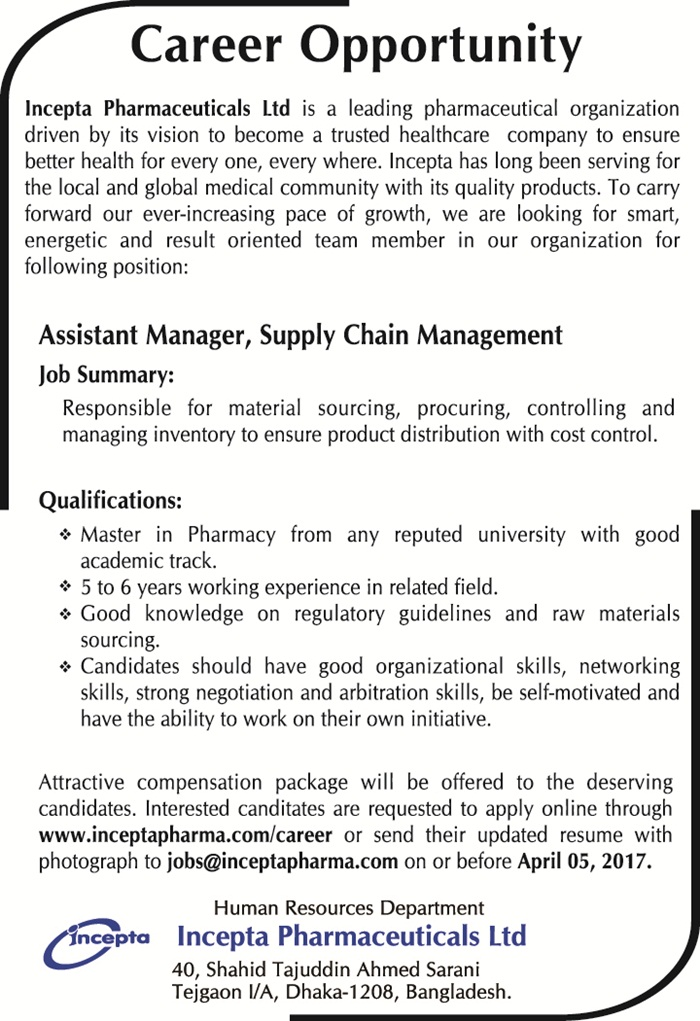 Insepta Pharmaceuticals Ltd Job Circular 2017