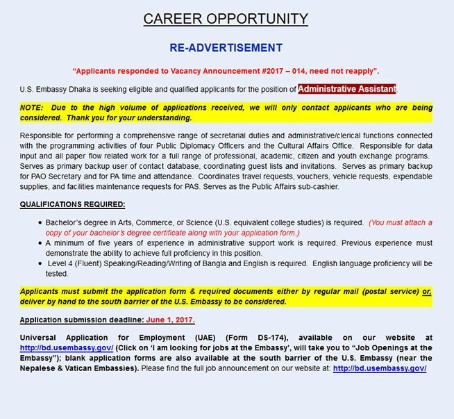 Job opportunity at the us embassy 2017 bd jobs careers for Consulate jobs