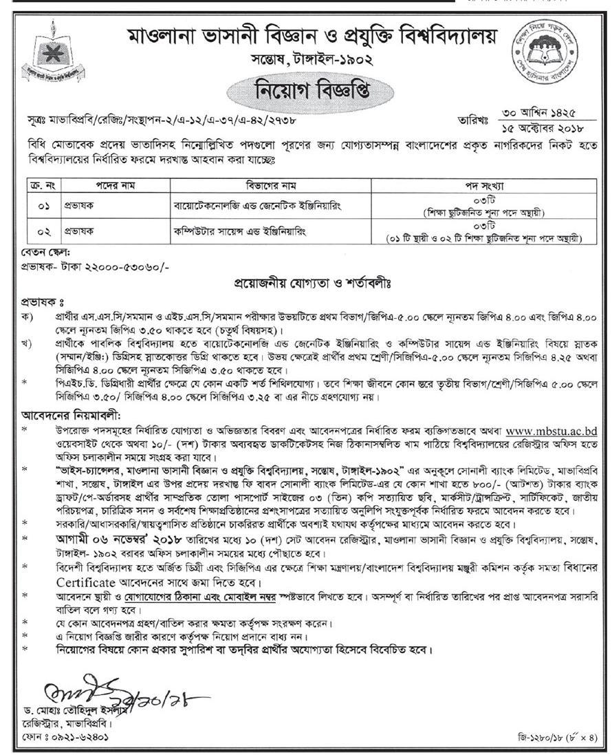 Mawlana Bhashani Science and Technology University Job Circular 2018