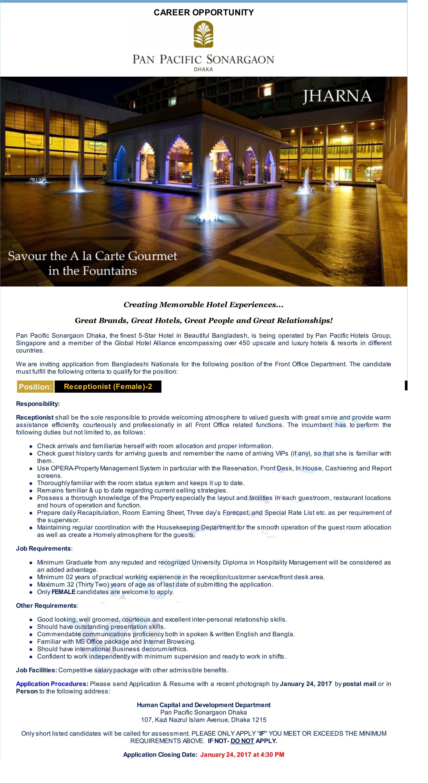 pan pacific sonargaon hotels and resorts job circular bd pan pacific sonargaon hotels and resorts job circular 2017
