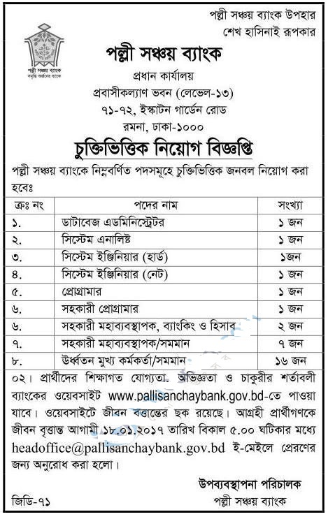 Rural Savings Bank Jobs Circular 2017