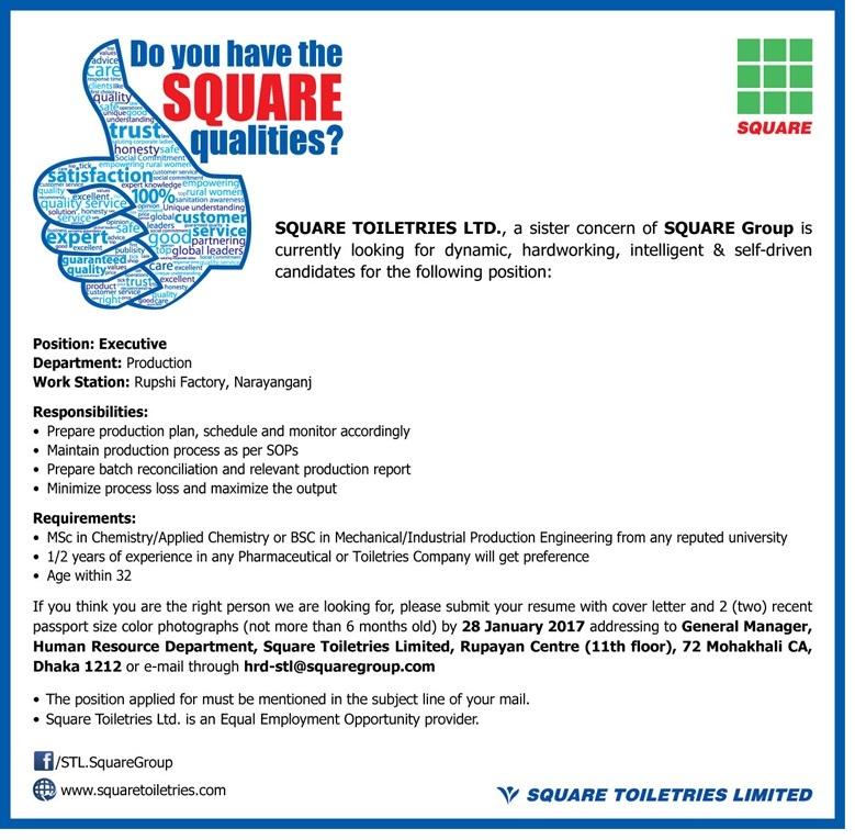 SQUARE Toiletries Limited Job Circular On January 2017