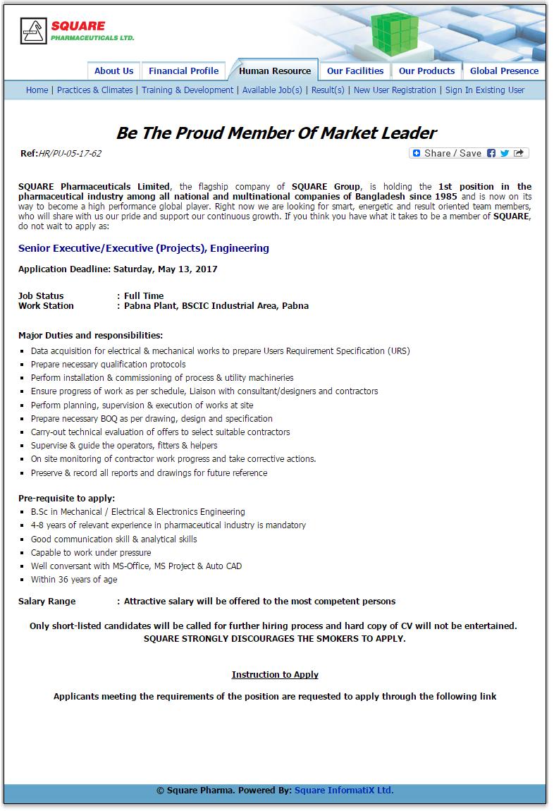 Square Pharmaceuticals Limited Jobs Circular 2017