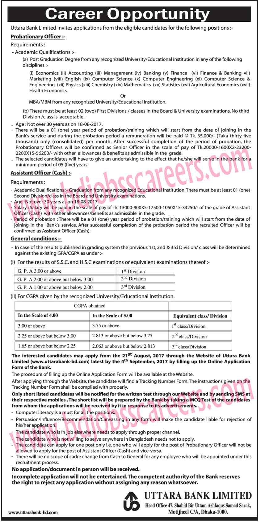 Uttara Bank Limited Job Circular 2017