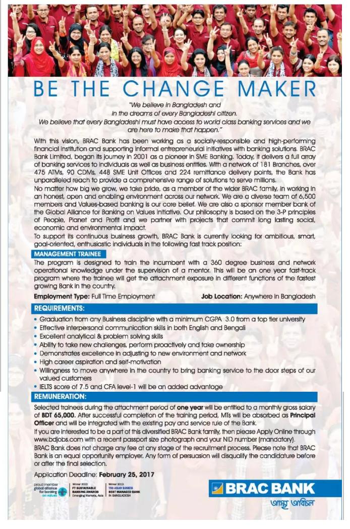 BRAC Bank Job Circular On February 2017