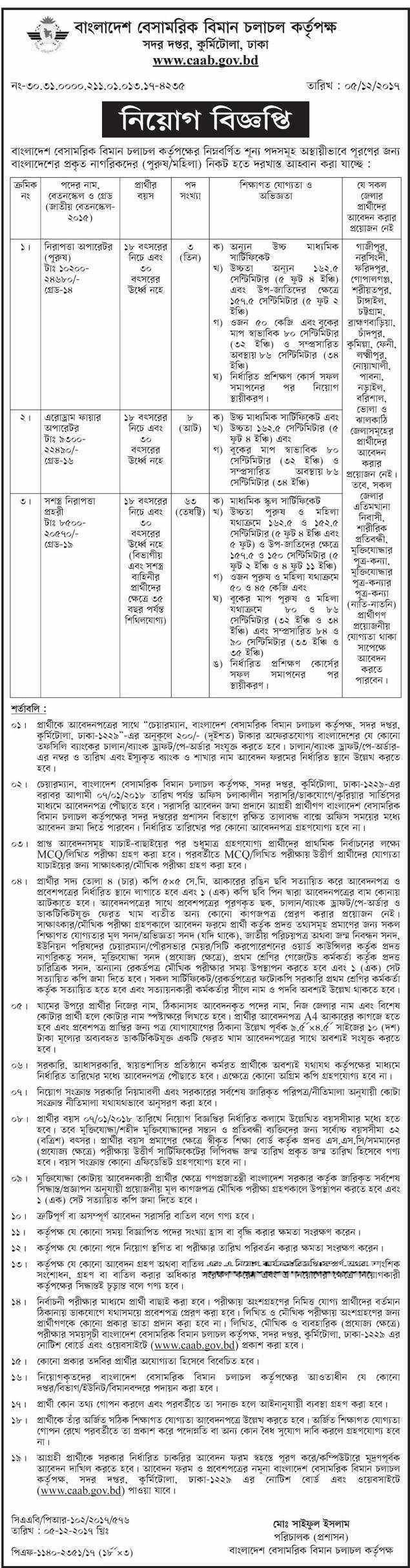 Civil Aviation Authority of Bangladesh Caab Job