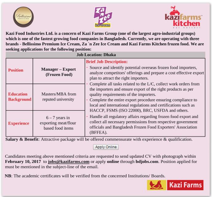 Kazi Food Industries Limited Job Circular 2017