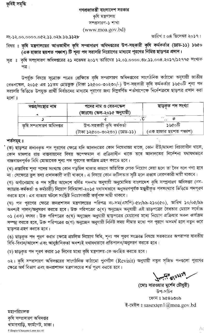 Ministry of Agriculture MOA Govt Job Circular 2017