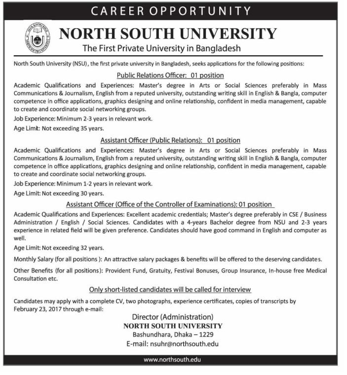 North South University Job Circular 2017