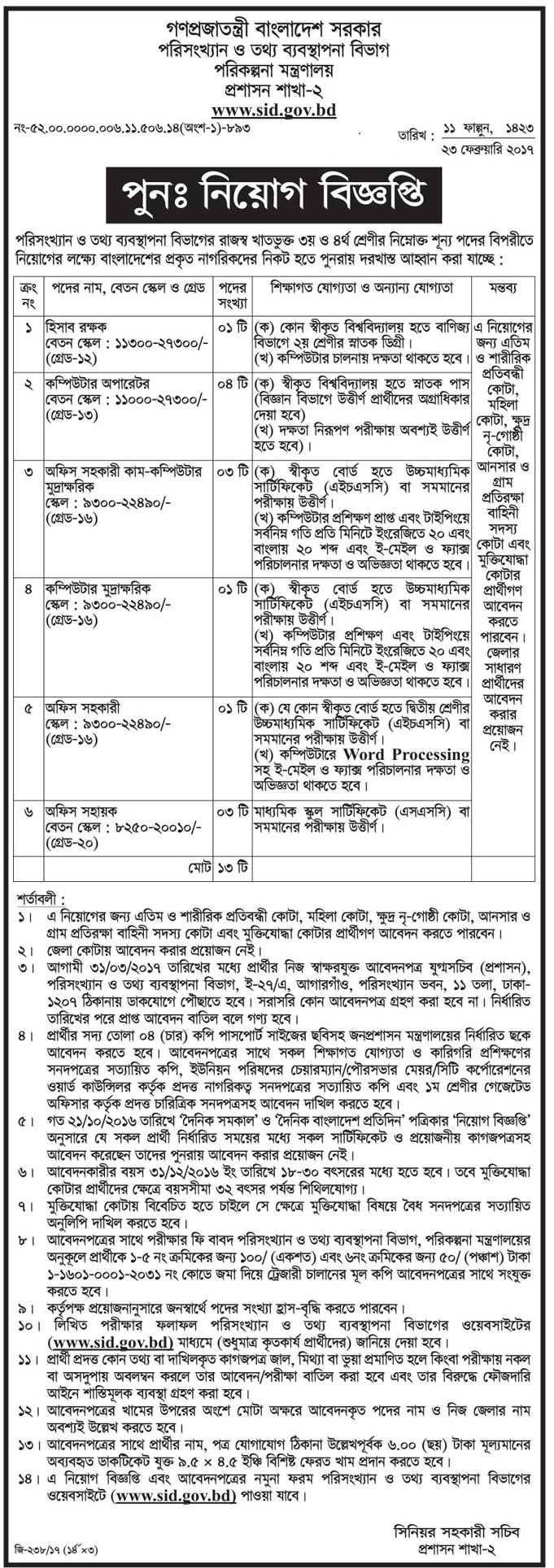 Statistics and Informatics Division-Government Job ...