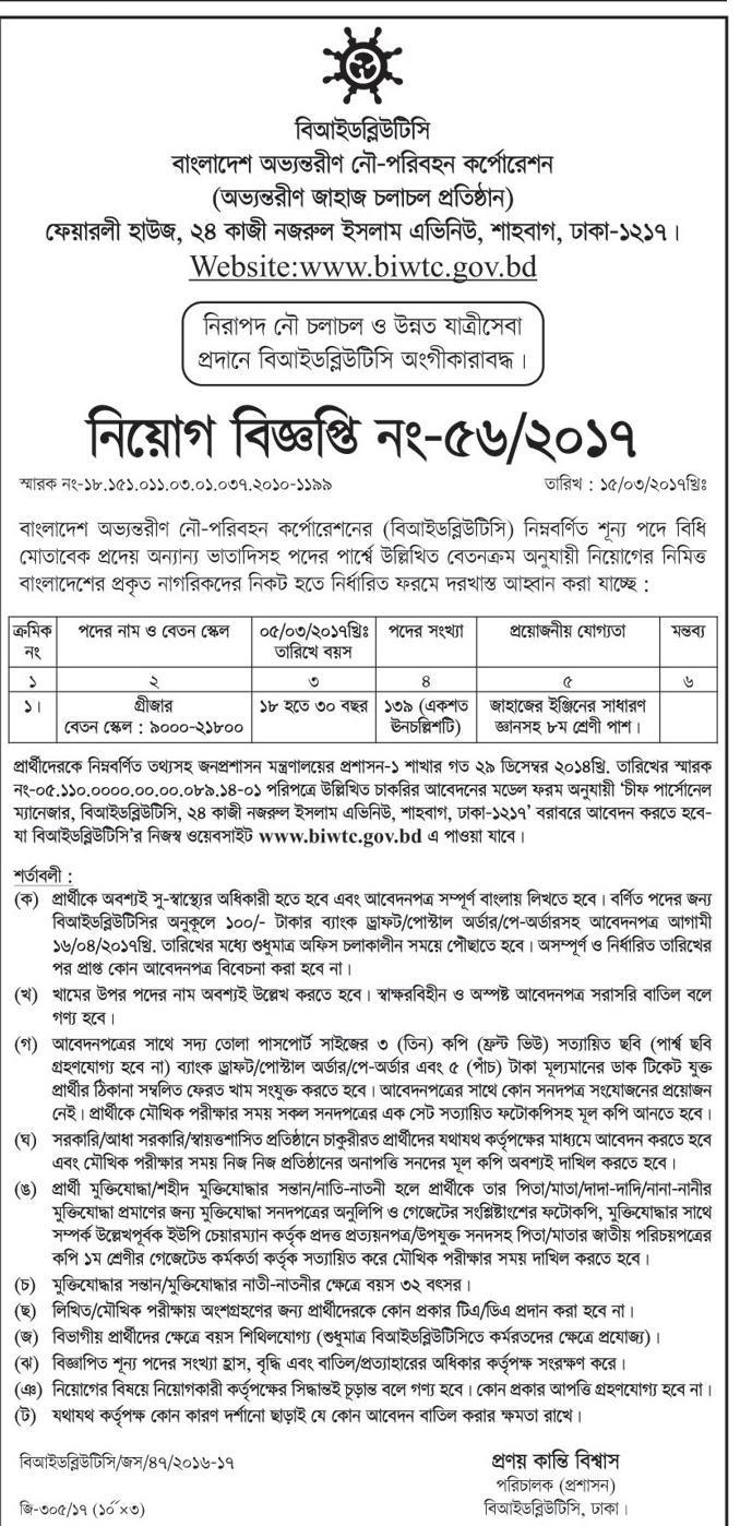 Bangladesh Inland Water Transport Corporation (BIWTC) Job Circular 2017