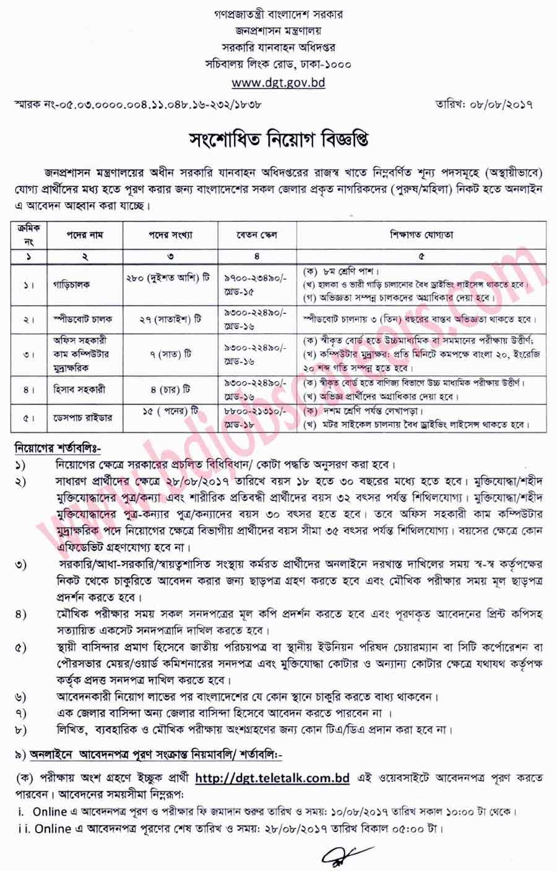 Bangladesh Road Transport Authority (BRTA) Job Circular 2017
