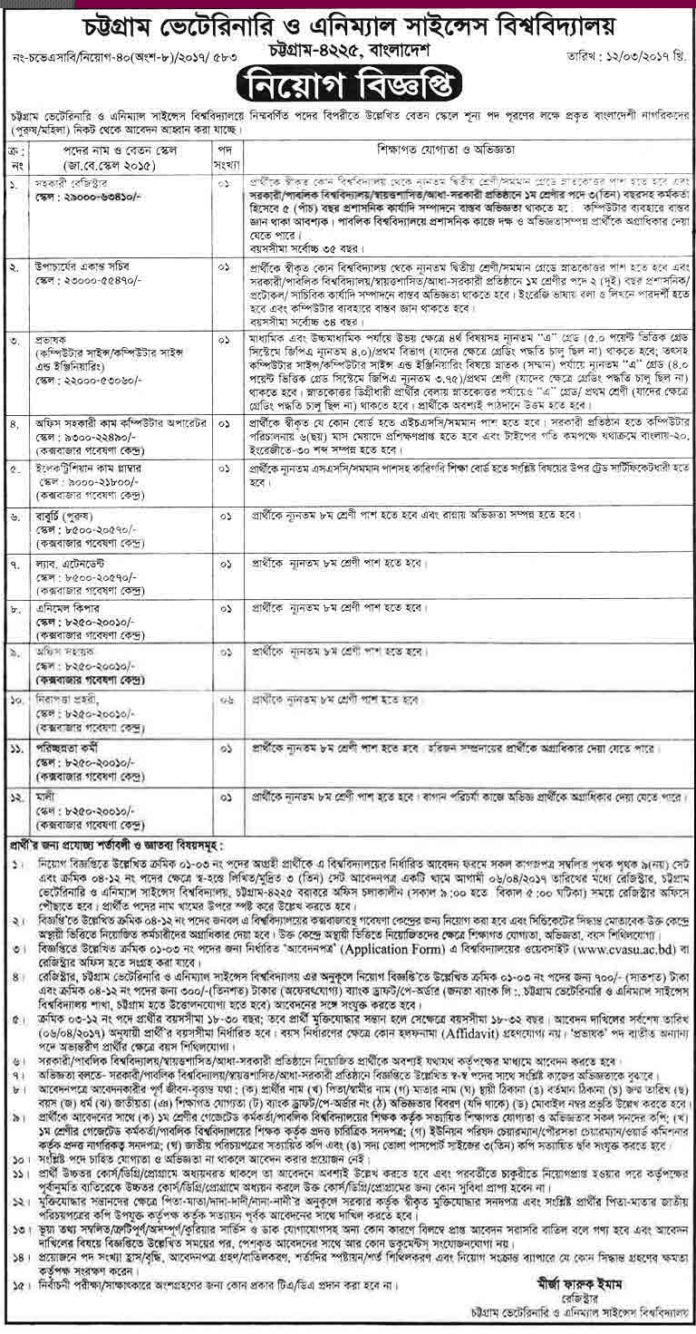 Citagang veterinary and animal science university Job Circular 2017