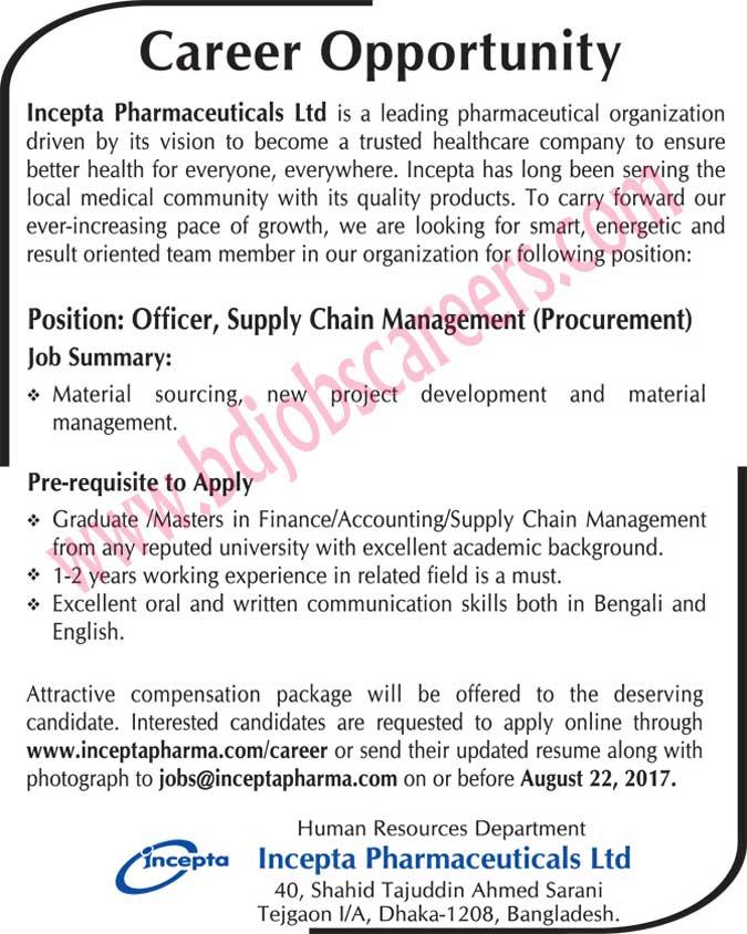 Incepta Pharmaceuticals Ltd Job Circular 2017