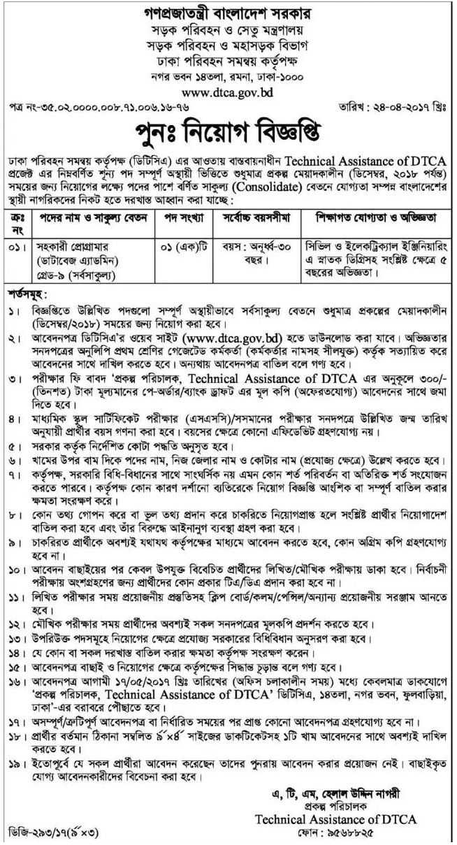 Ministry Of Road Transport And Bridges Job Circular 2017