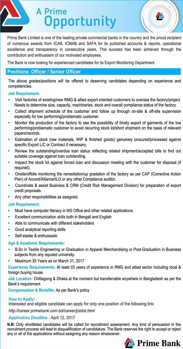 Prime Bank Limited Job Circular 2017