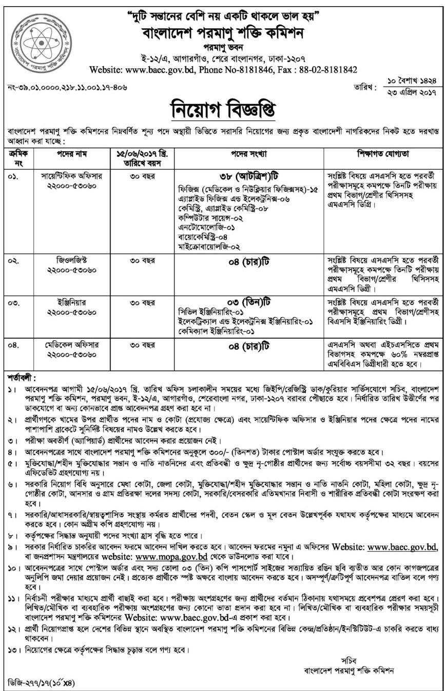 Bangladesh Atomic Energy Commission Job Circular 2017 Bd